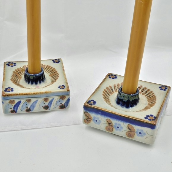 Vintage Tonala pottery candlesticks
